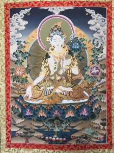 Hand painted thangka of White Tara